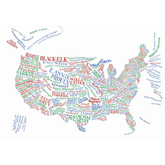 Literary Maps Of The USA And UK Books Literature And English - Map of us and uk