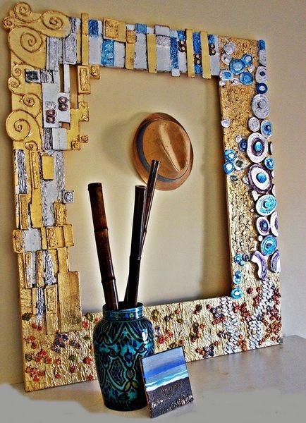 Marco para espejo inspiraci n gustav klimt de bohemian for Hacer marco para espejo grande
