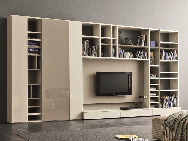 Mueble modular de pared lacado con soporte para tv SPEED F Colección