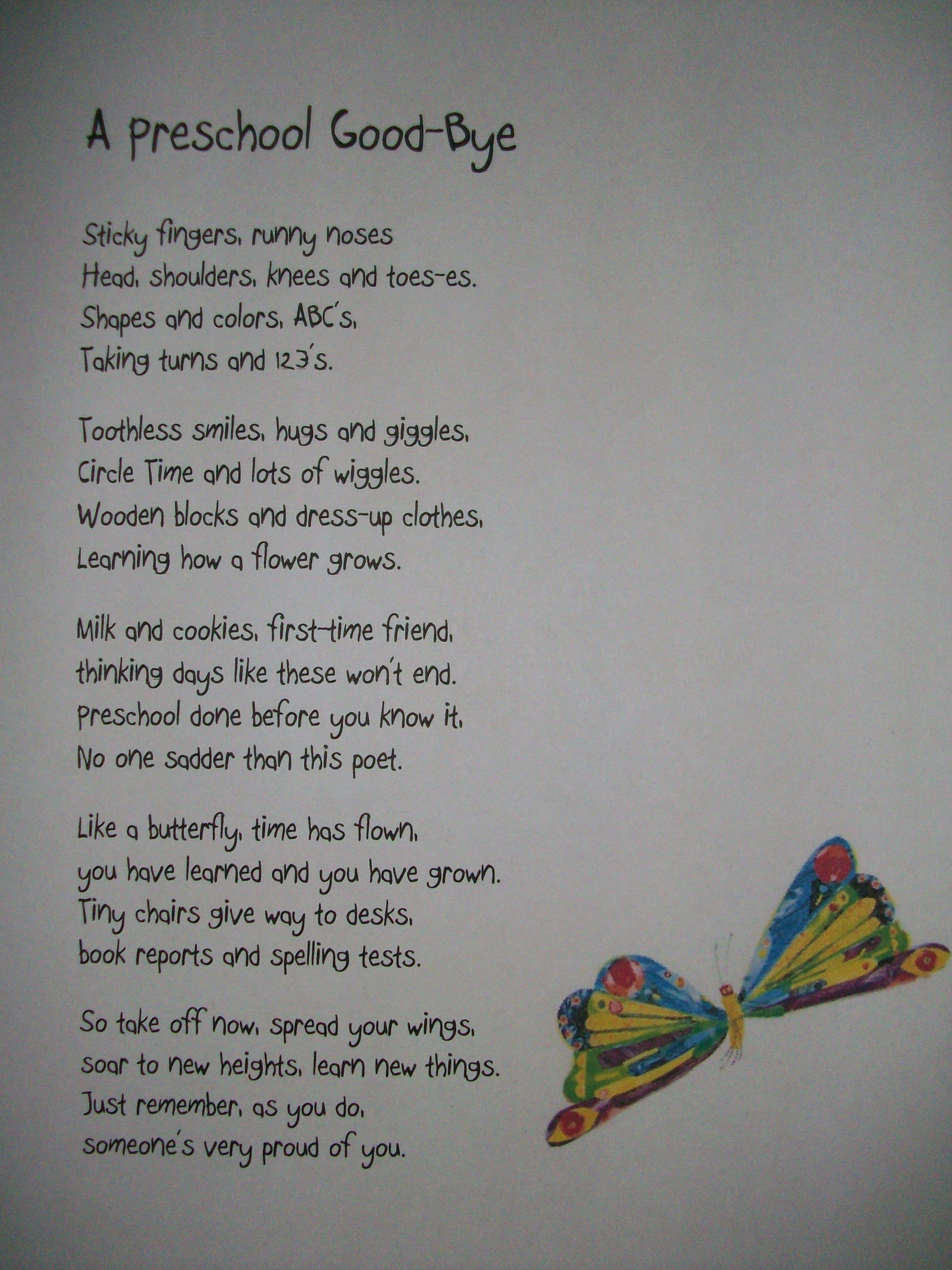 Preschool Poem for end of year I don t think I could read it