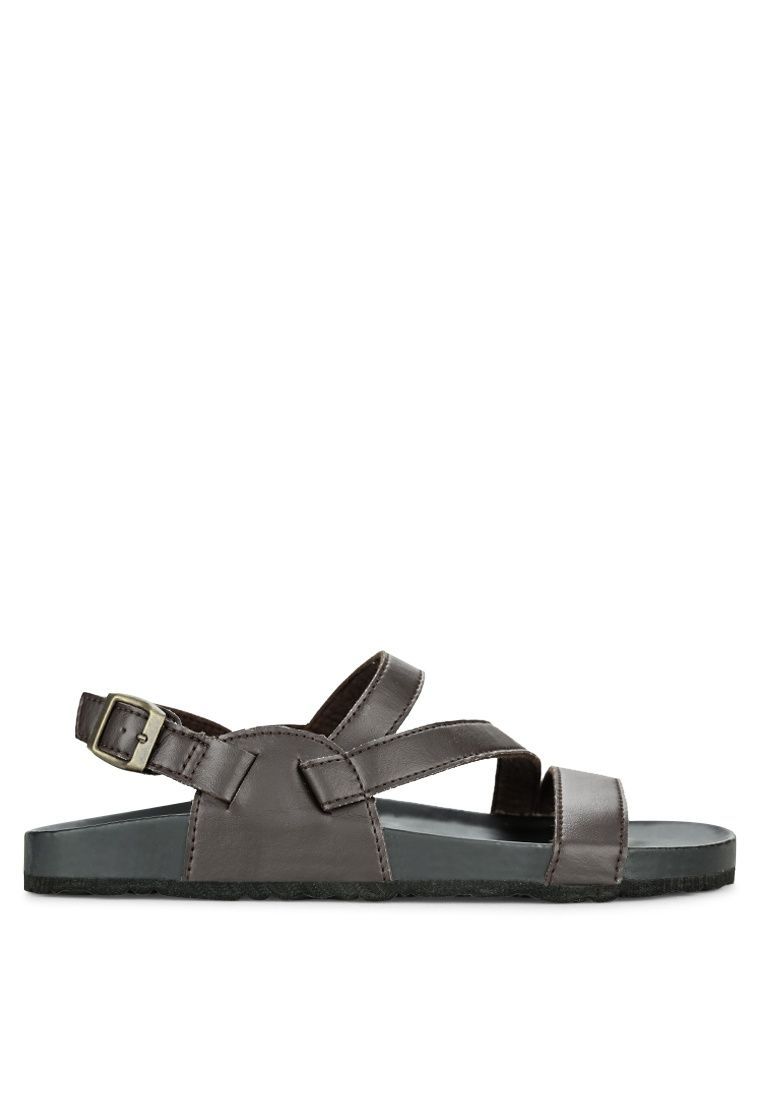 Faux Leather Sling Back Sandals from ZALORA in brown_2