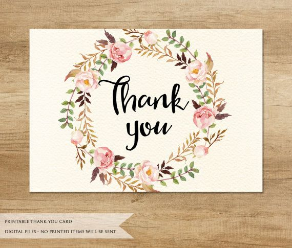 Printable Thank You Card This listing if for an INSTANT DOWNLOAD - printable thank you note