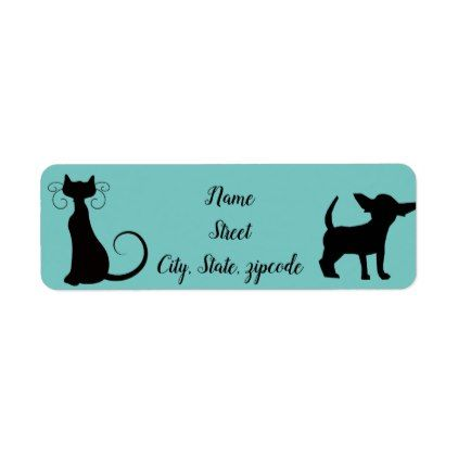 cute cat and dog address labels labels customize diy cyo
