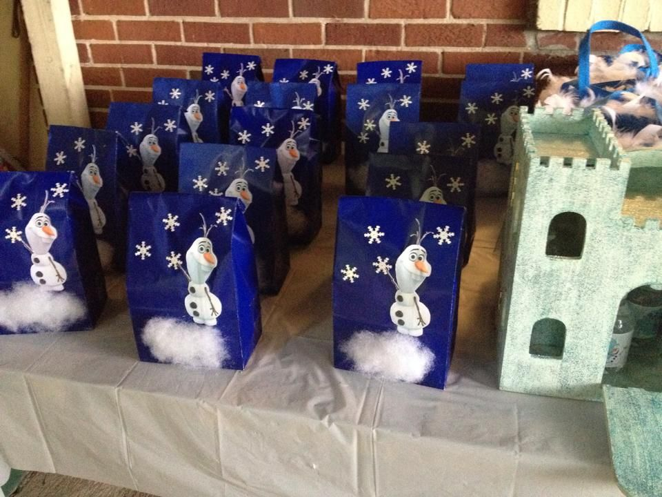 Snowman goody bags (for the boys). snowflake soap, reindeer poop (choc covered raisins), etc.