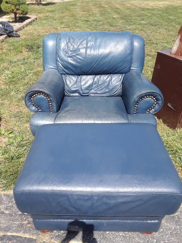 Leather chair and ottoman for Sale in Indianapolis, IN