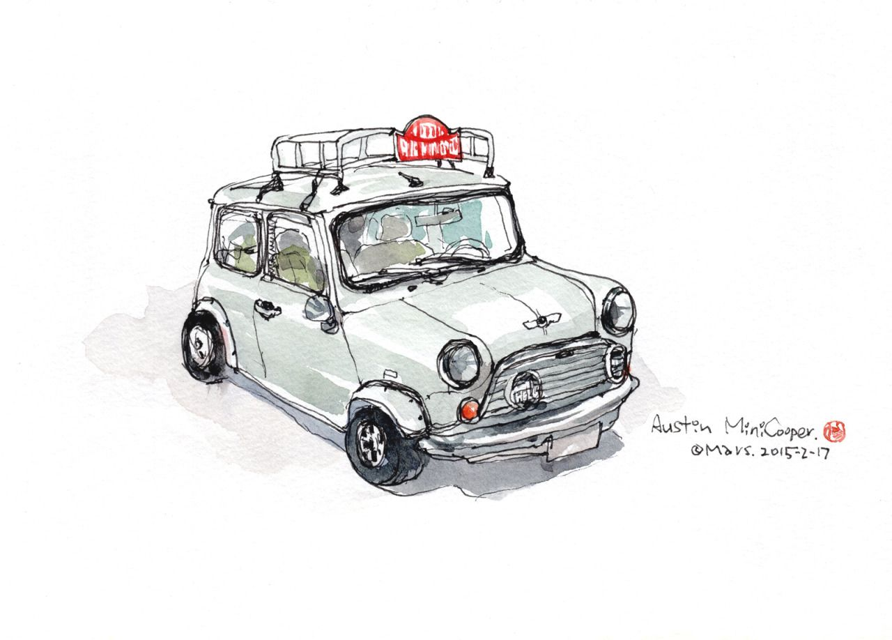 austin mini cooper guy drawing car drawings classic mini urban sketching micro [ 1280 x 918 Pixel ]