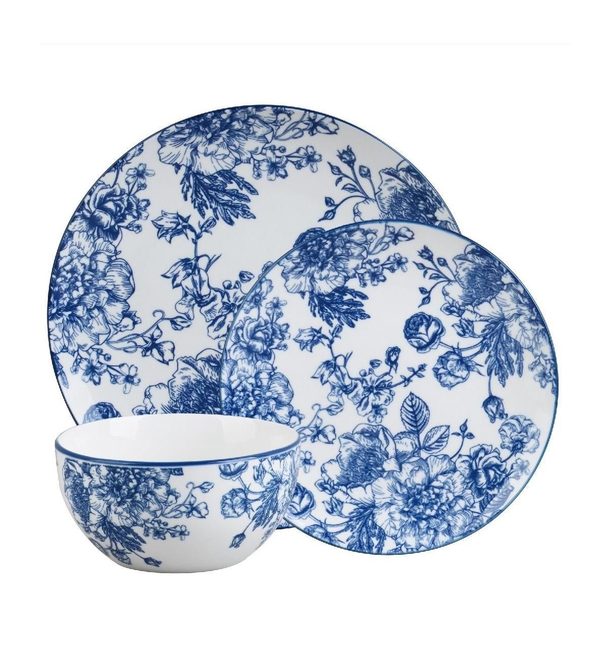 Godinger Blue Floral 12 Piece Dinnerware Set Service For 4 Reviews Dinnerware Dining Macy S In 2021 Blue Dinnerware Sets Blue Dinnerware Blue And White Dinnerware Blue and white salad plates