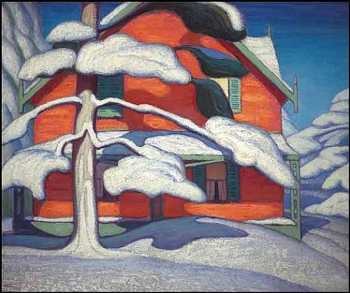 Pine Tree and Red House Winter City Painting II, Lawren Harris, Oil on Canvas, 1924