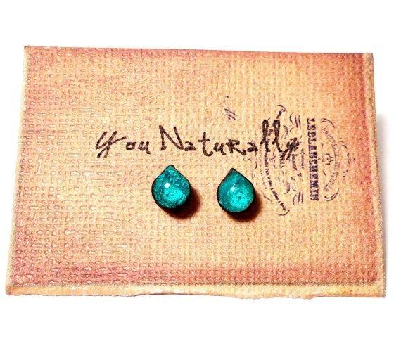Aqua Wooden Stud Earrings
