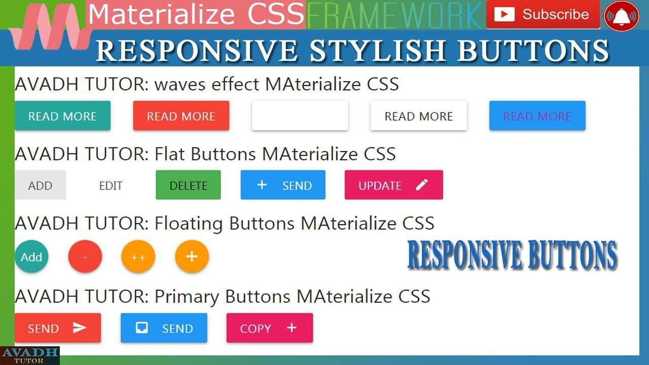 Beautiful Buttons Effects Responsive Buttons Materialize Css