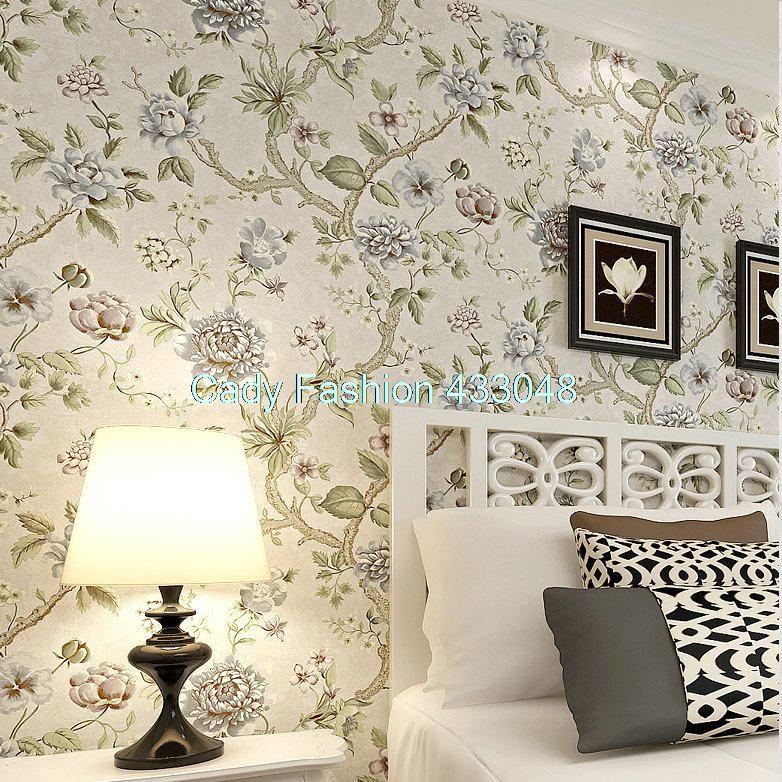 No tejido del papel pintado pastoral sal n dormitorio flor for Tejidos y novedades paredes