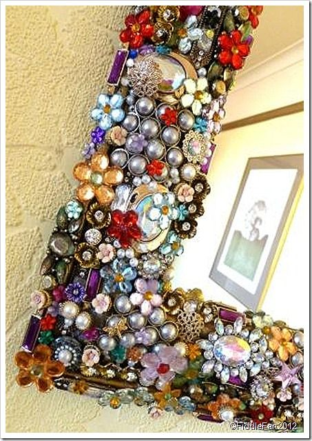 Jewelled Mirror DIY awesome idea! Get crystal flowers here: http://www.partyspin.com/ProductDetails.asp?ProductCode=PSHP2002