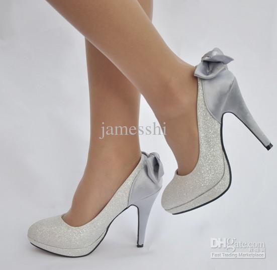 Dropshipping Lady Women Sexy Wedding Shoes Bridal High Heeled Bowknot