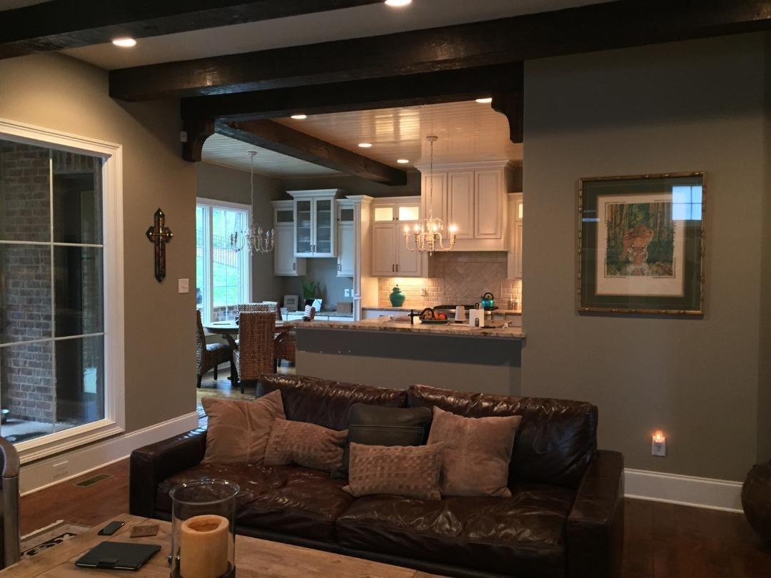 Beautiful wood beams in this living space