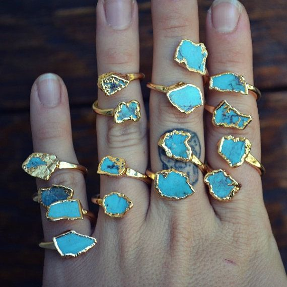 LUX DIVINE Semi Adjustable Turquoise Wrap Ring Stackable