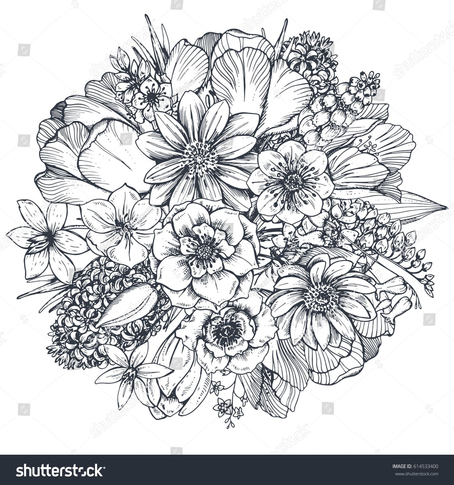 floral composition bouquet with hand drawn spring flowers