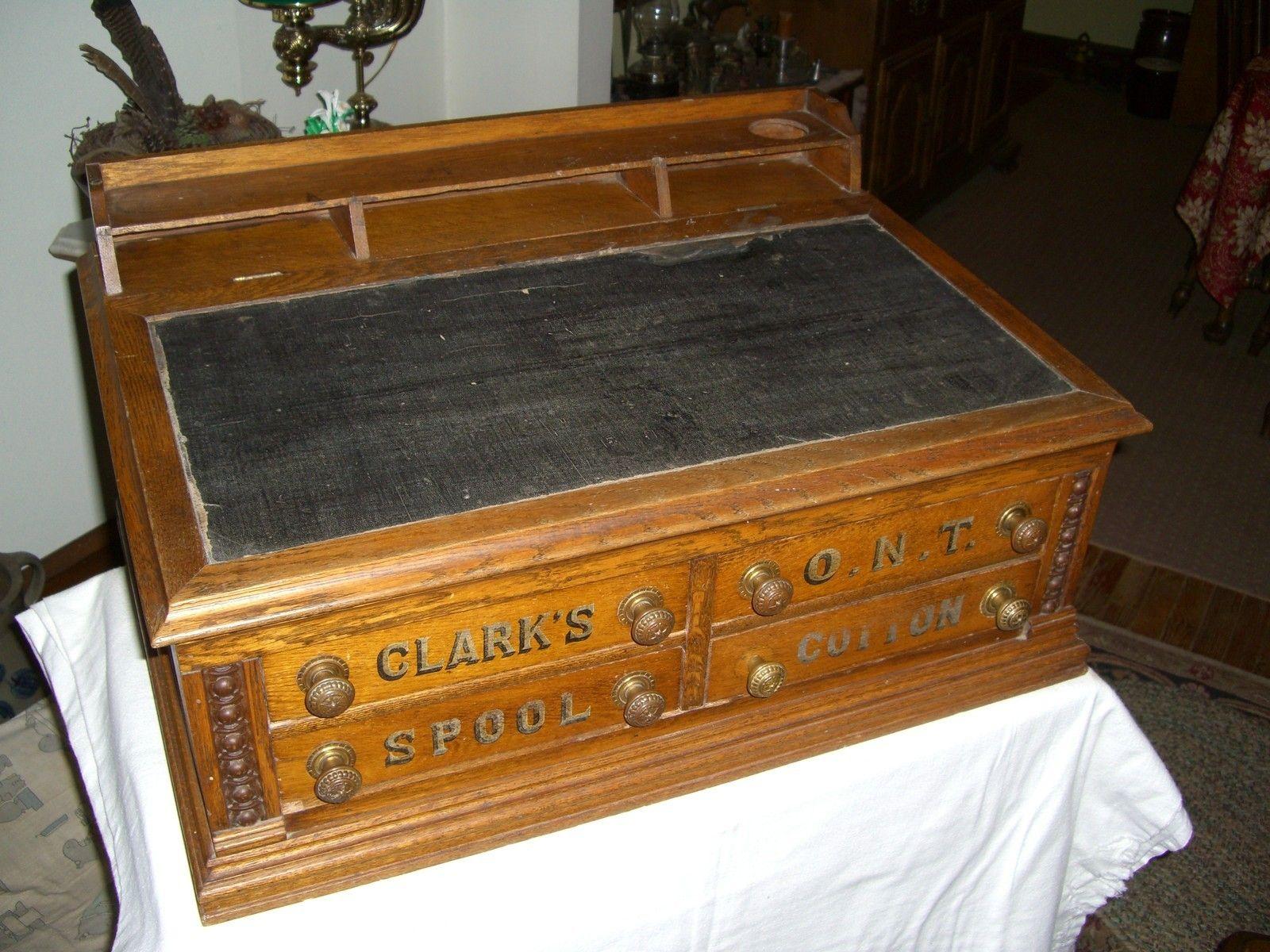 antique oak coats clark o n t spool thread desk ebay country rh pinterest com