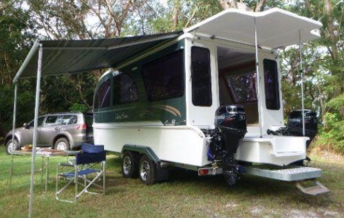 caraboat floating travel trailers home camper boat deck boat rh pinterest com