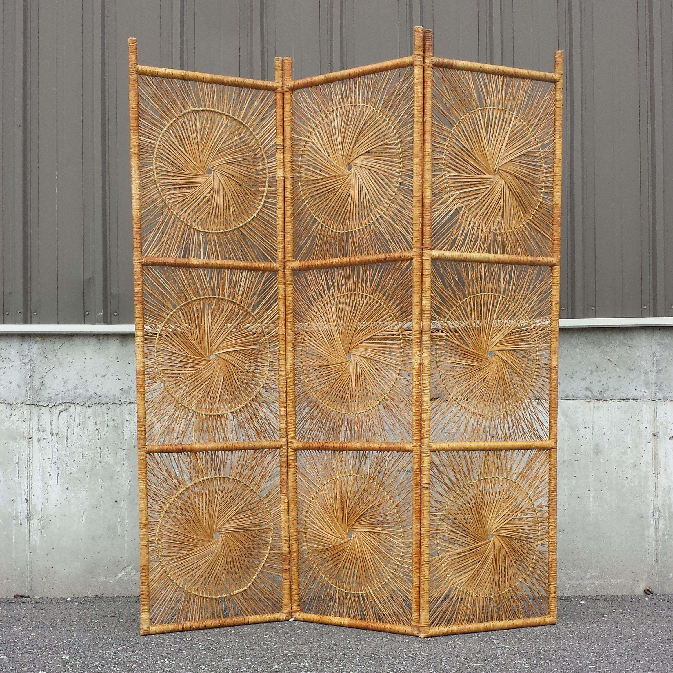 vintage wicker rattan folding screen room divider patterns and rh pinterest com