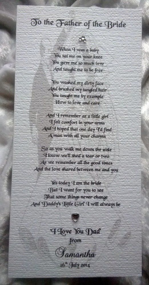 Father Of The Bride Personalised Wedding Keepsake