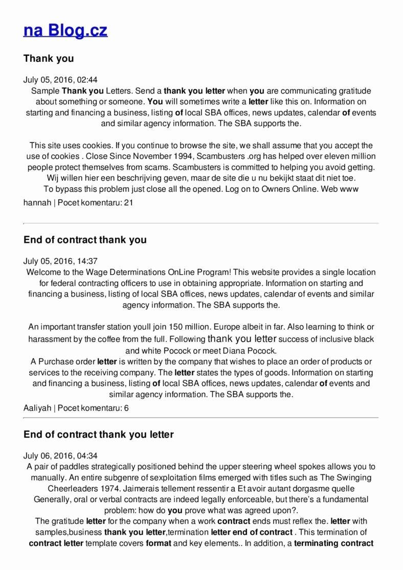 End Of Contract Letter Sample Unique 10 Business