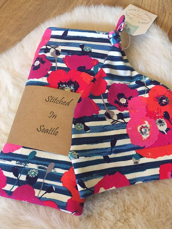 Designer Baby Swaddle Set Poppies Baby Blanket Baby Knot Top Hat