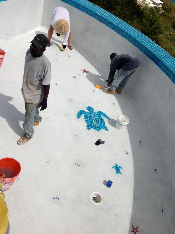 Inlaid Pool Tile Designs Edge Mosaics Outside