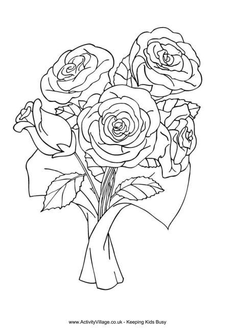 Bunch of roses colouring page