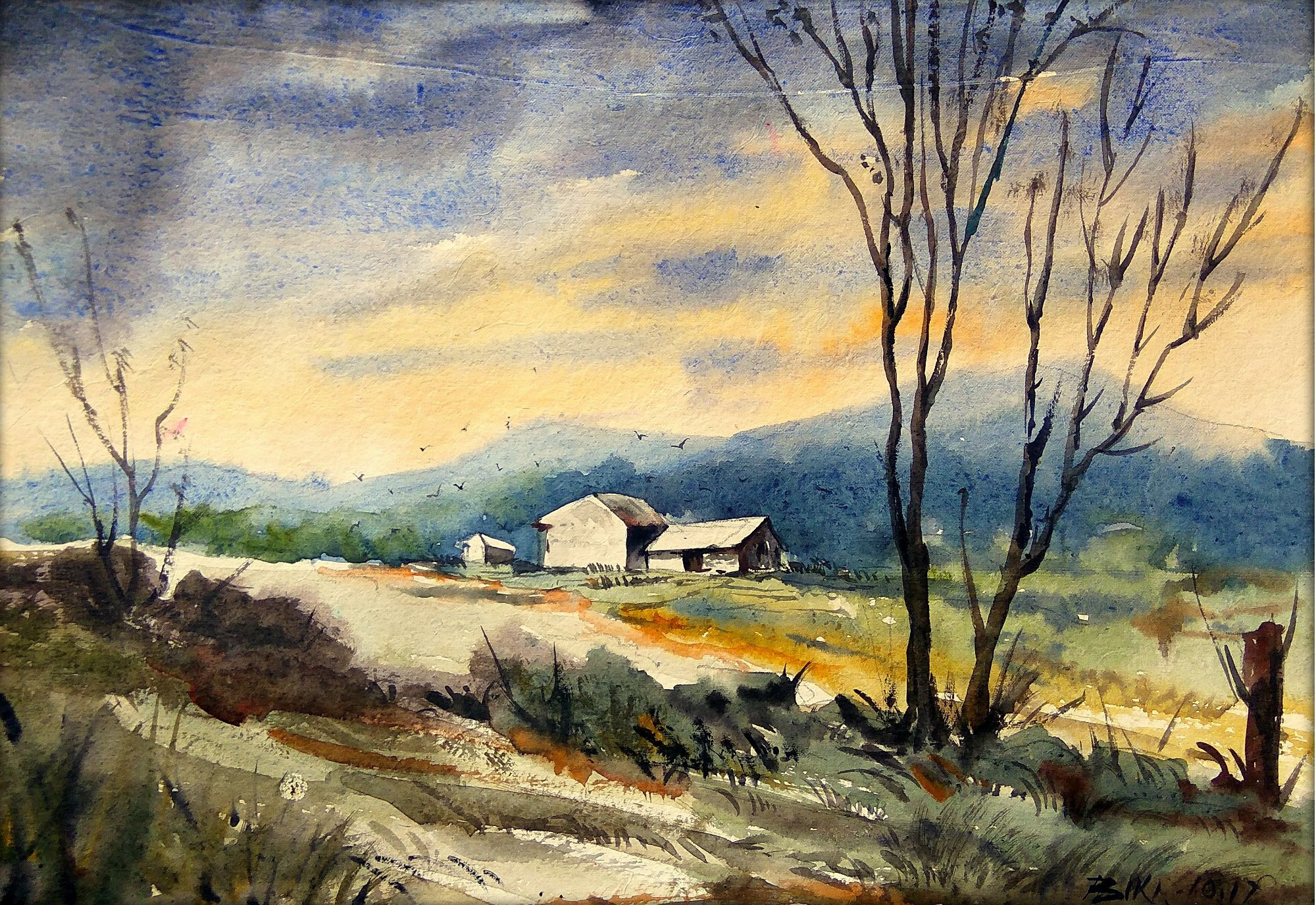 This Beautiful Landscape Provides Us With A View Of Small Huts Which Are In The Lap Of Nature Watercolour Inspiration Landscape Paintings Watercolor Pictures