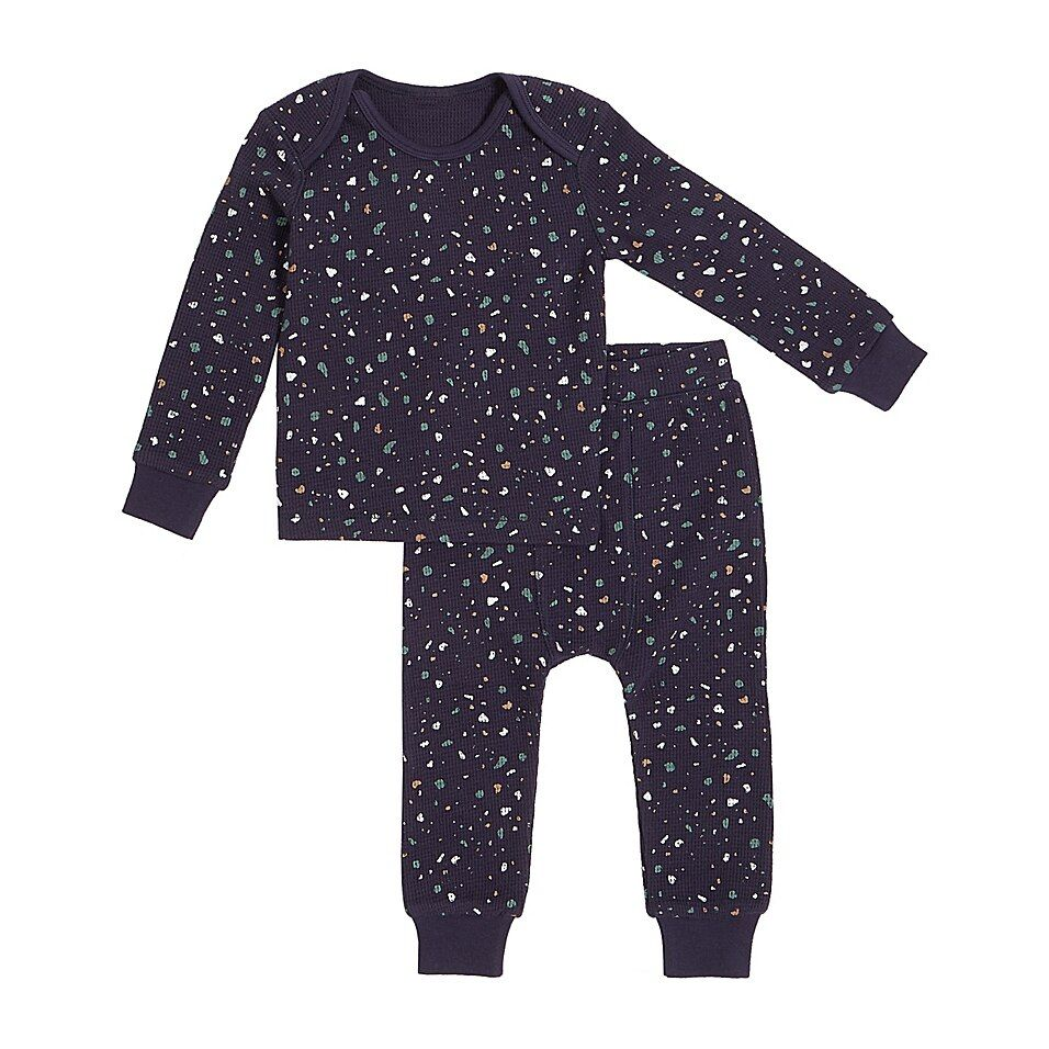 Petit Lem   Size Size 6M 2-Piece Splatter Thermal Pajama Set In Navy - Your little one will be warm and cozy each night with this Petit Lem Splatter Thermal Pajama Set. Cut from snug organic cotton with a sweet splatter design, this shirt and legging pairing provides ultimate comfort for sleep and play.