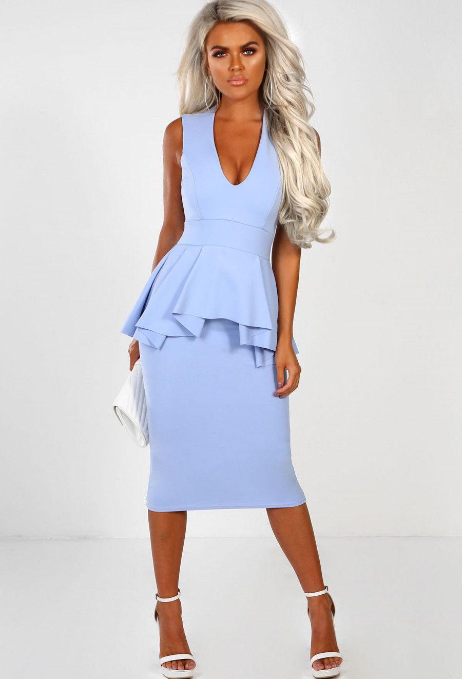 d7f71f9a33e Forbidden Love Powder Blue Pleat Peplum Midi Dress - 8 in 2019