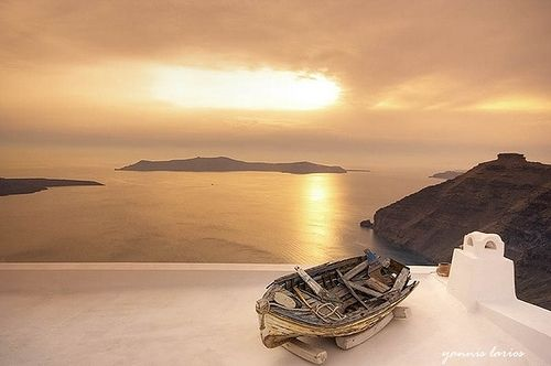 boat, greece, greek island , santorini, sea, sky - inspiring picture on Favim.com