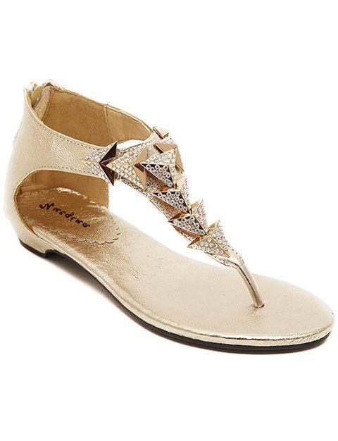 metallic gold flat sandals