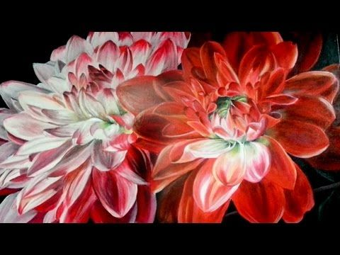 acrylic painting of a dahlia flower- speed paintingsummer