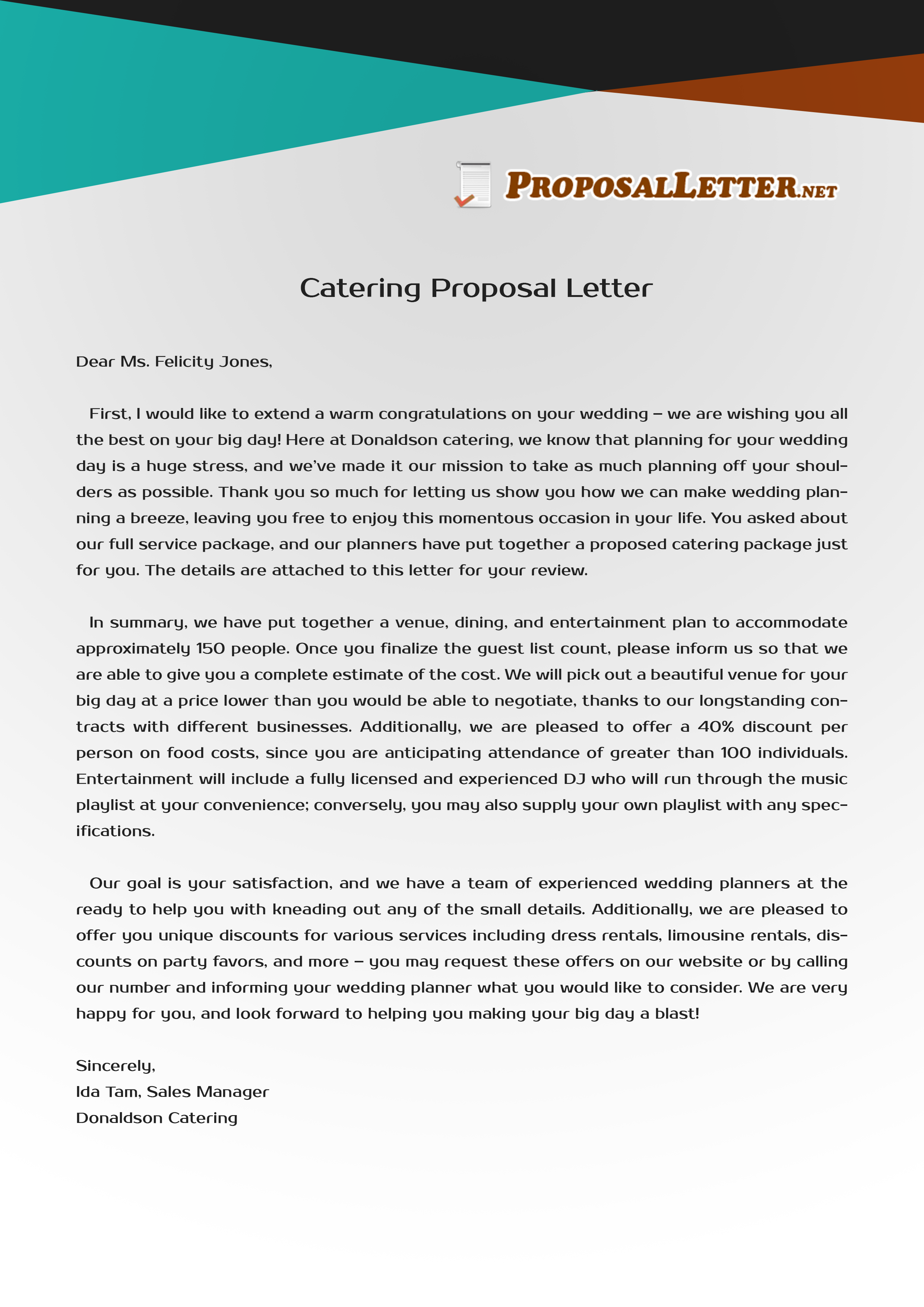 need help to write catering letter proposal  see these