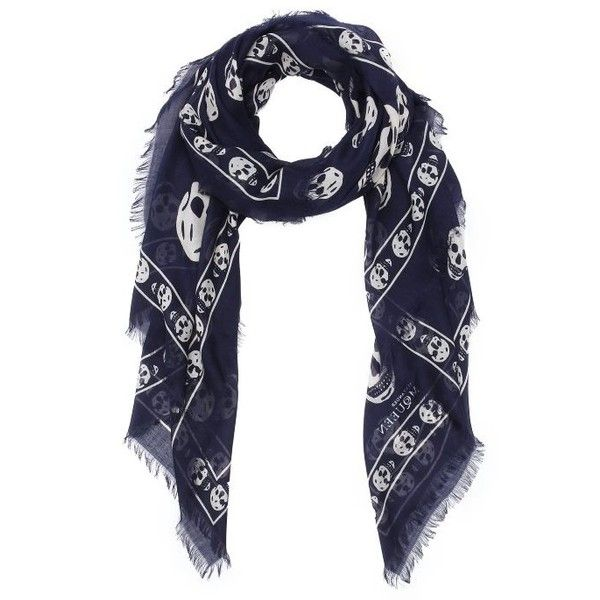 Alexander McQueen Navy and ivory silk blend skull patterned scarf ($212) ❤ liked on Polyvore featuring accessories, scarves, oblong scarves, navy blue scarves, lightweight scarves, ivory shawl and long shawl