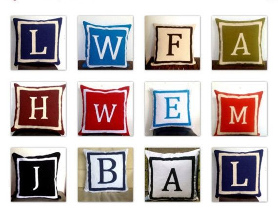 Initial Pillow Covers Initial Throw Pillow Cover Monogrammed Pillows Letter Pillows