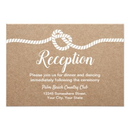 Rustic Tying The Knot Kraft Wedding Reception Card