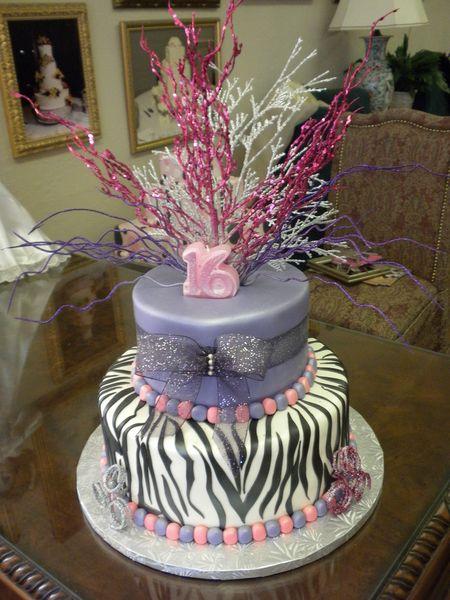 2 tier fancy zebra birthday cake Village Bakery Tyler TX