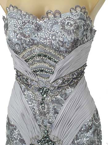 Silver Beaded Sequined Lace Chiffon | Hollywood glamour, Lace ...