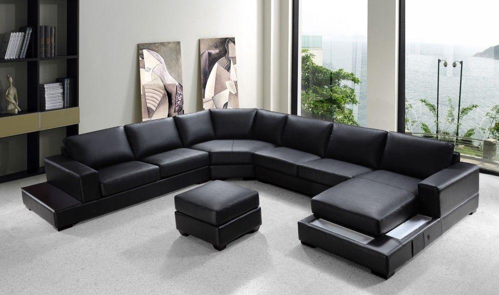 Ritz Modern Black Leather U Shaped Sectional Sofa Modern Bonded Leather Sectional Sofa U Shaped Sectional Sofa Leather Sectional Sofas