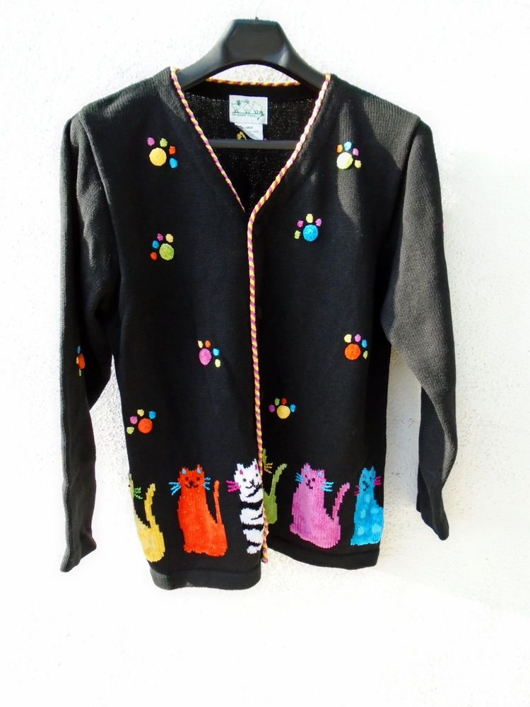 THE QUACKER FACTORY Black Colorful CAT Sweater Size L