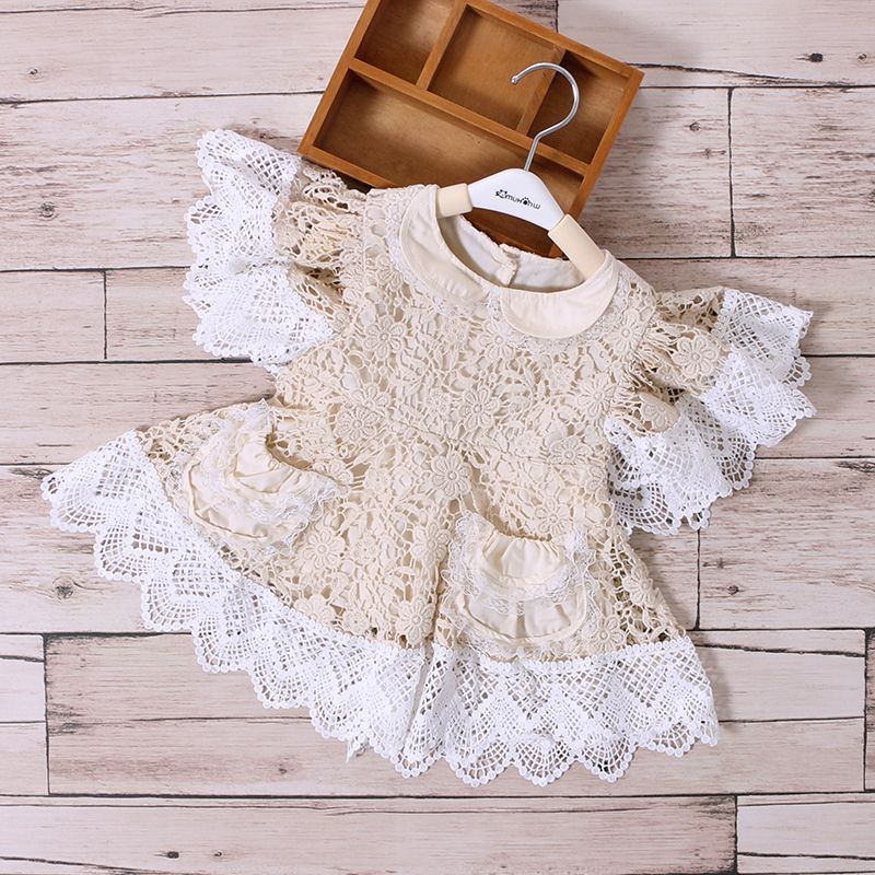 Baby Girl Clothes Princess Dress Cream Lace Dress White Lace Ruffle Children Dress Wedding Party Dresses Kids Girls Clothes