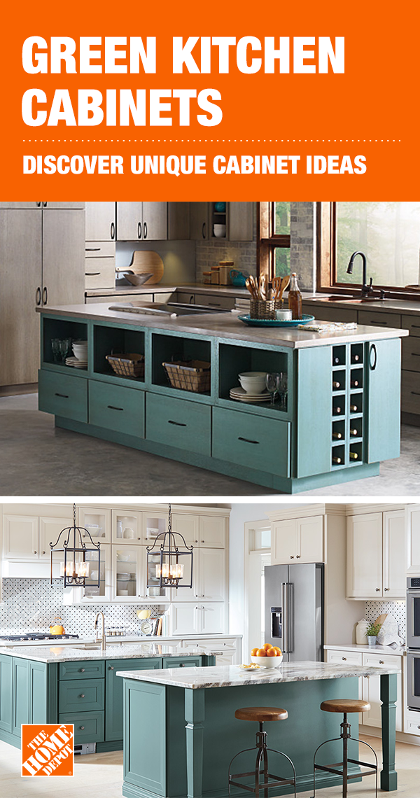 Make Your Statement With Green Kitchen Cabinets From The Home Depot
