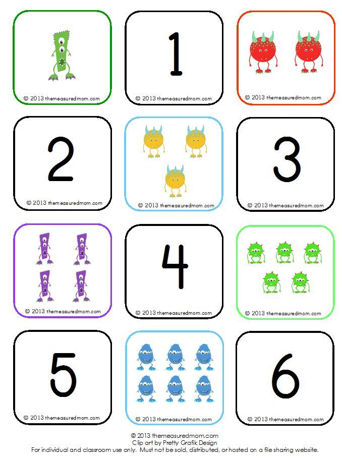 Learn to count groups of 1-10: free Monster Memory Game
