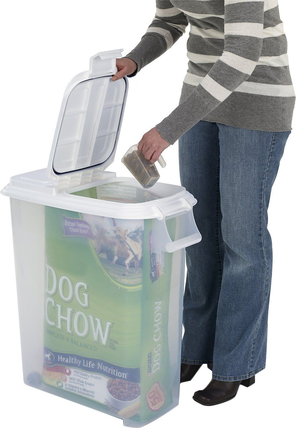 Buddeez roll away pet food container with scoop 50qt