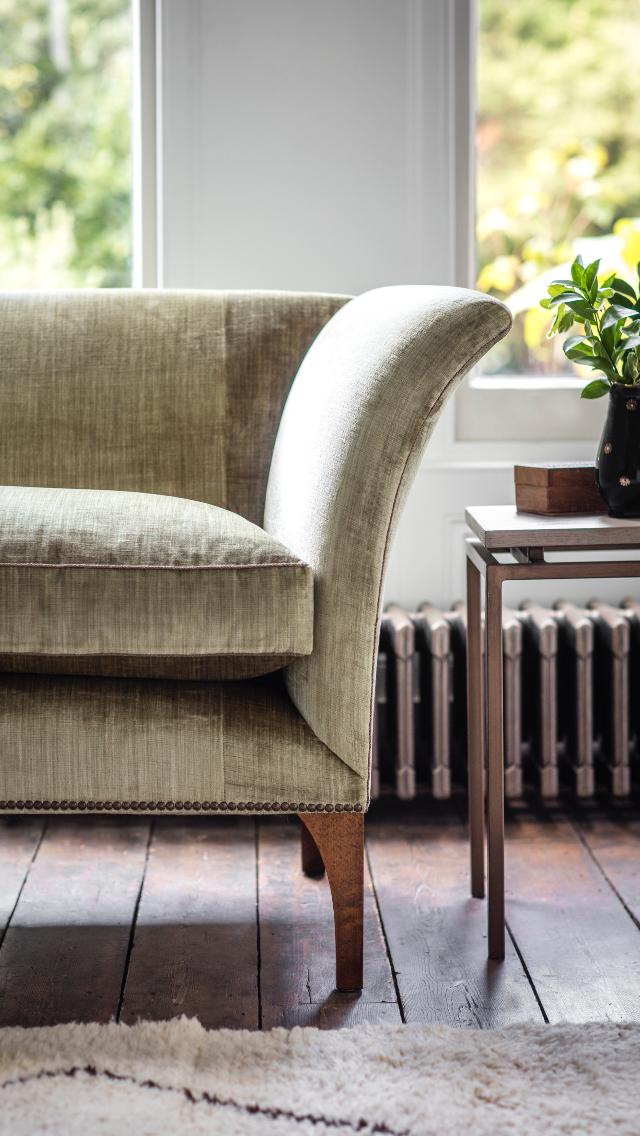 The Warwick is a new signature sofa for Beaumont & Fletcher. Its iconic shape owes much to the classic lines of Regency designer, Thomas Hope. While the Warwick clearly sits perfectly in a traditional setting, the strong elegant scrolling lines create excitement and glamour in a modern setting also. Shown in Como silk velvet - Fern.