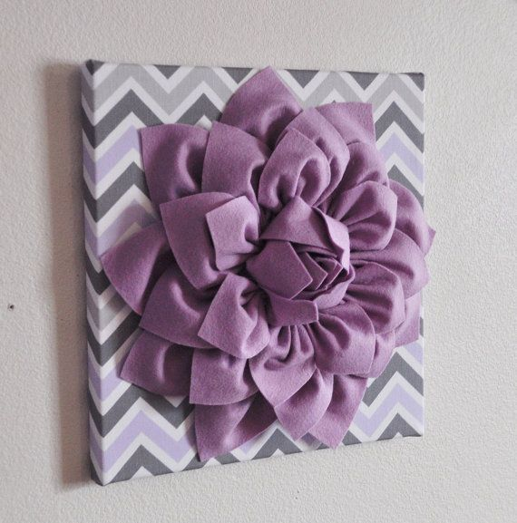 "Wall Decor -Lilac Dahlia on Lilac and Gray Chevron 12 x12"" Canvas Wall Art- Purple Wall Art"