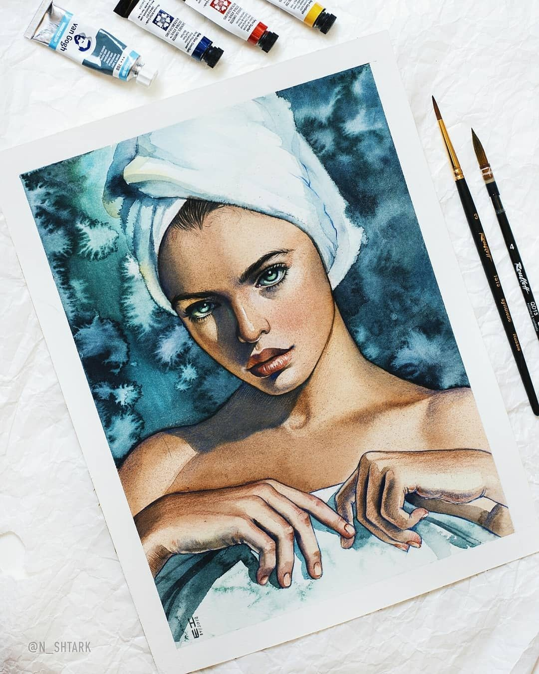 Watercolor Portrait Towel Woman Watercolorist N Shtark