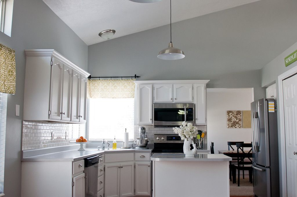 Sherwin williams argos gray walls cabinets painted white for White kitchen wall color